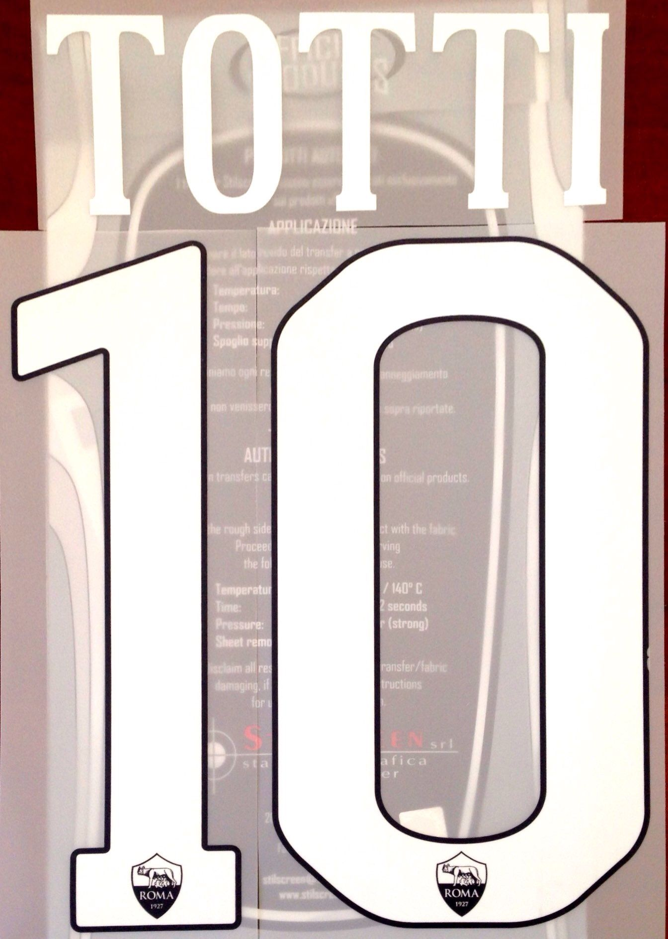 2016-17 AS Roma LEGEND Third Shirt TOTTI 10 Official Stilscreen Name Number  Set 0e0f29f22