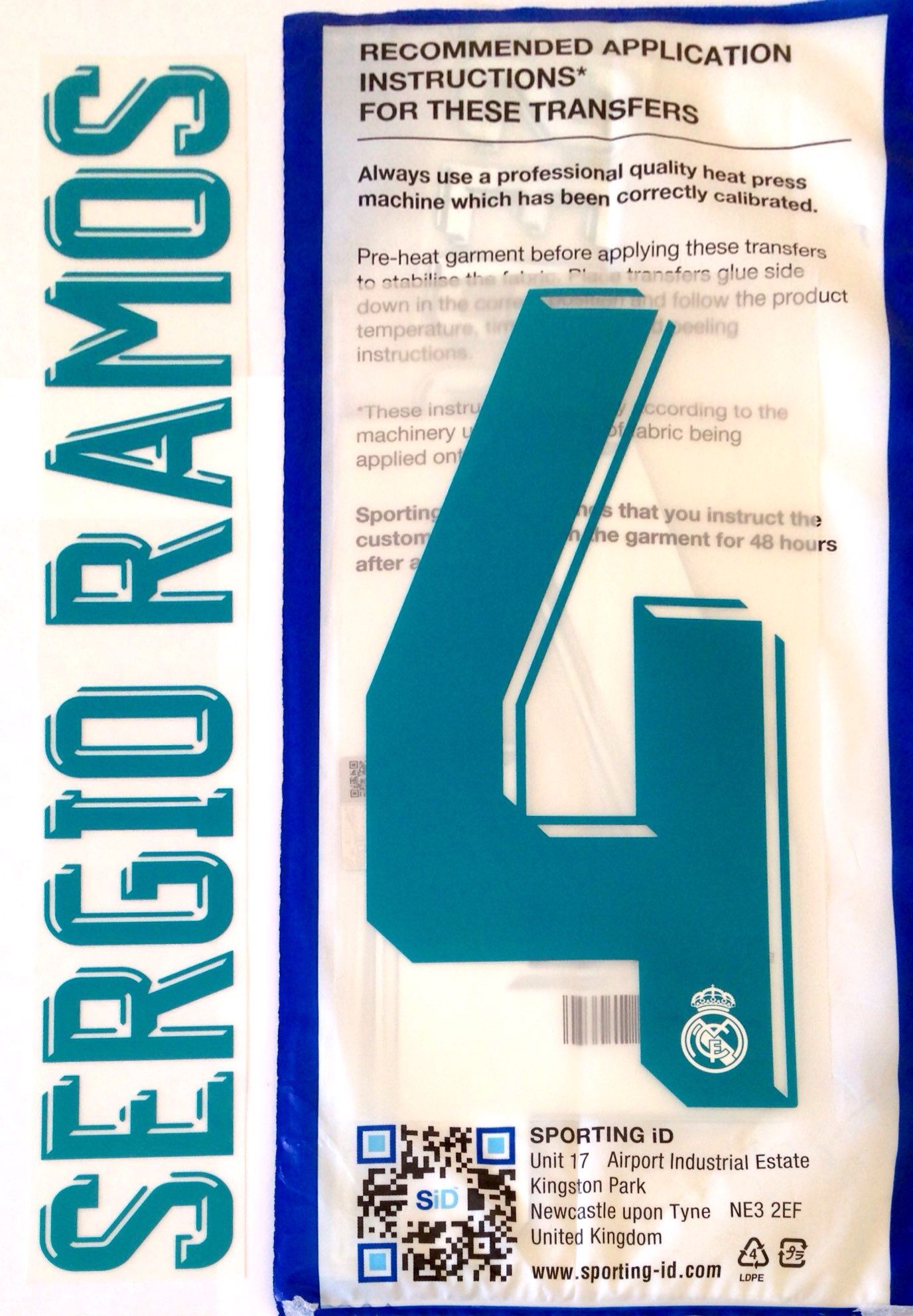 2017-18 Real Madrid SERGIO RAMOS 4 Home UCL Shirt OFFICIAL SportingiD Name  Number Set d35a0bef3