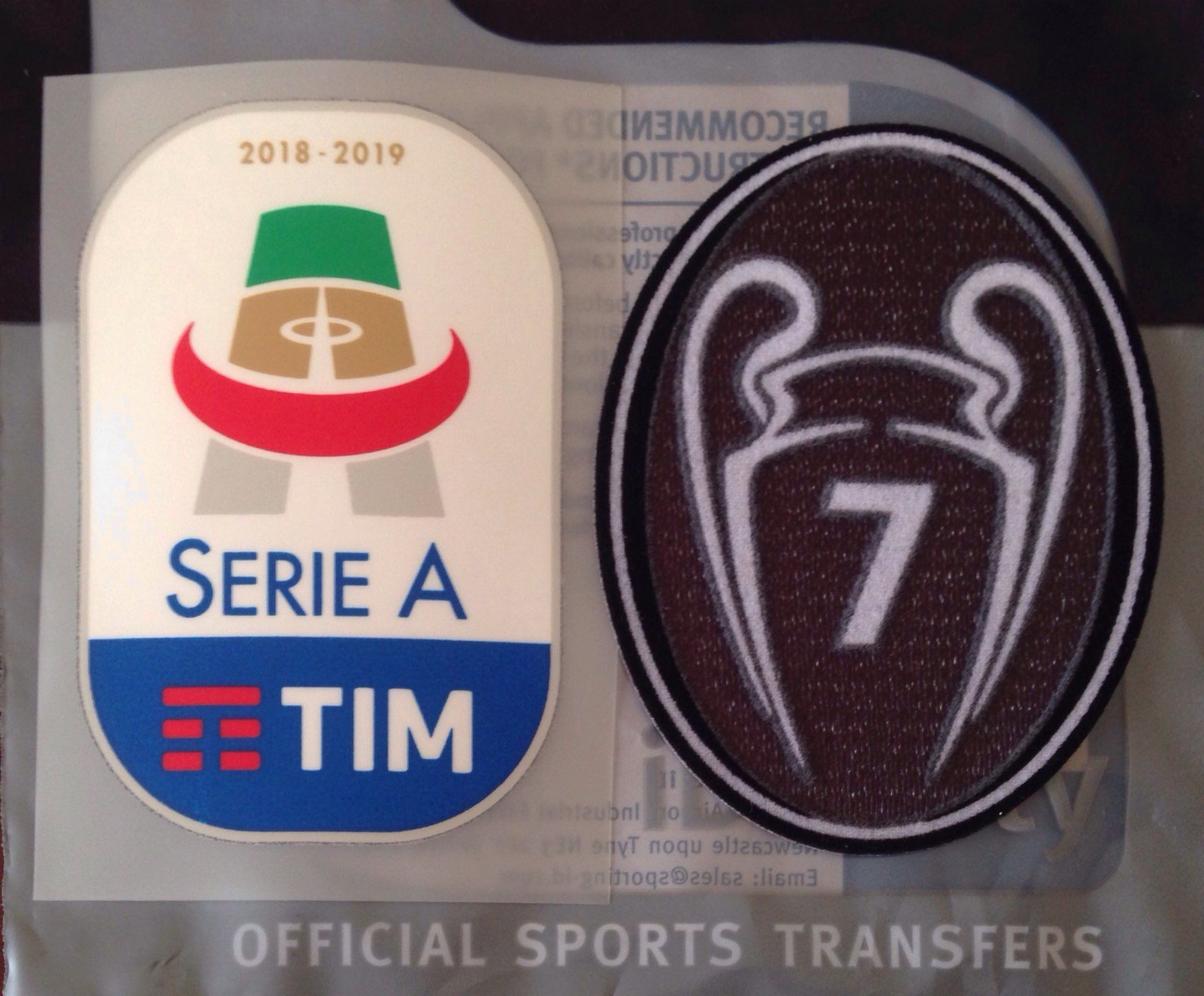 2018-19 AC Milan Serie A & UCL BOH 7 Champions OFFICIAL Football Soccer  Badge Patch Set