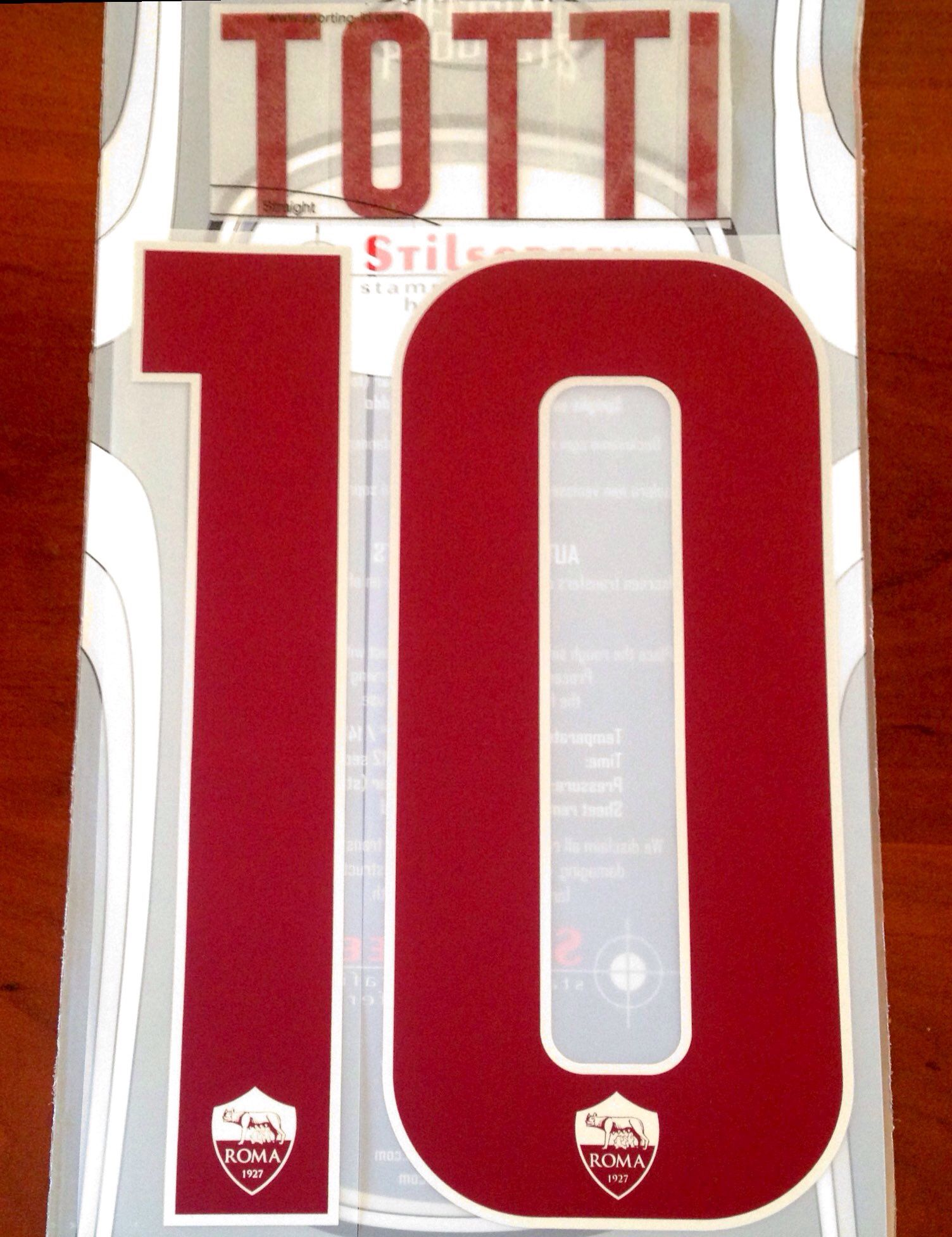 2018-19 AS Roma LEGEND Third Shirt TOTTI 10 Official Stilscreen Name Number  Set 293c25b6f