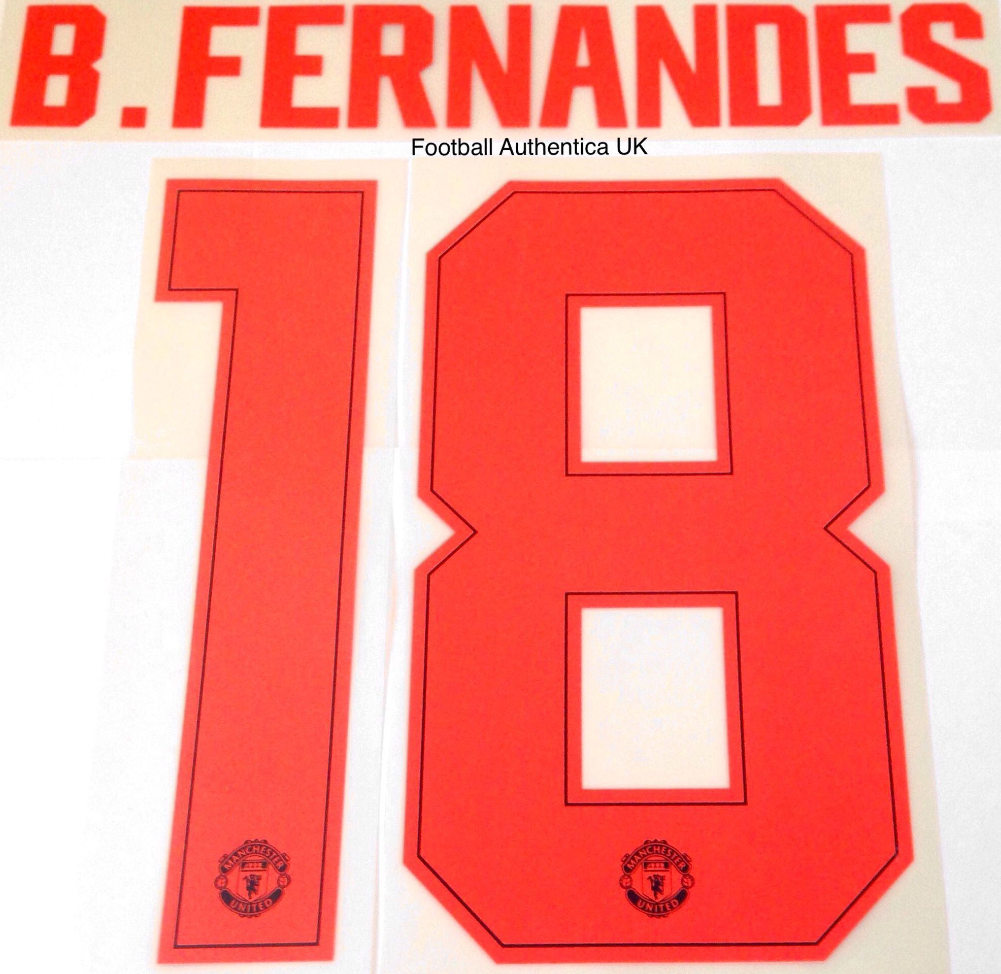 2019 20 Manchester United Europa League Fa Cup Third Shirt B Fernandes 18 Official Name Number Set