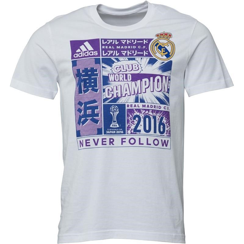 new product 559af feb27 ADIDAS CV6678 Real Madrid 2016 FIFA WORLD CLUB CHAMPIONS Soccer Football  T-Shirt - Size Large NEW