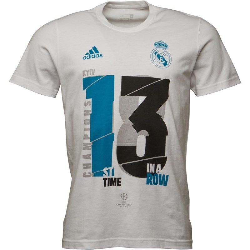 ADIDAS ED4572 Real Madrid 2018 UCL WINNERS 13 IN A ROW Football Soccer T Shirt Size Medium NEW