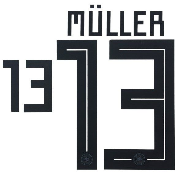 52fc39124 Germany WORLD CUP 2018 Home Shirt 2018-19 MULLER 13 Adidas DEKOGRAPHICS  Football Name Number Set